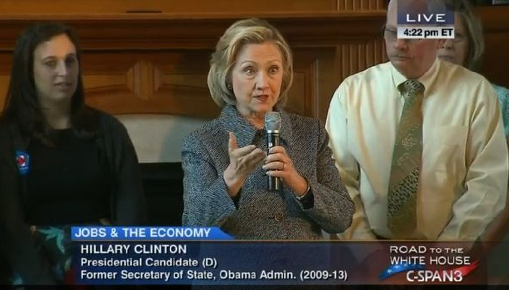 Presidential candidate Hillary Clinton spoke to supporters in Mason City, Iowa, on May 19, 2015.