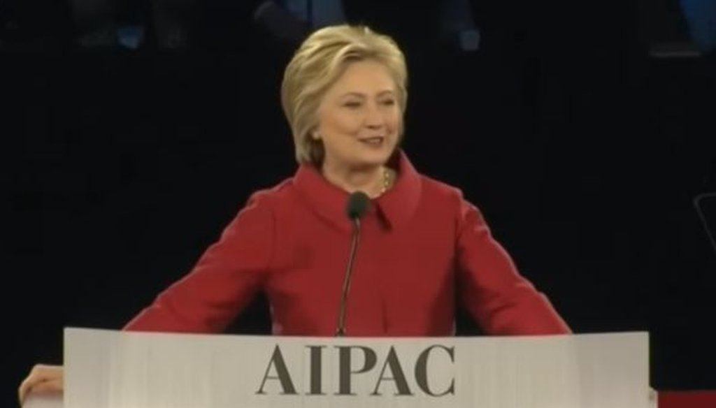 Hillary Clinton addressed the American Israel Public Affairs Committee on March 21, 2016.