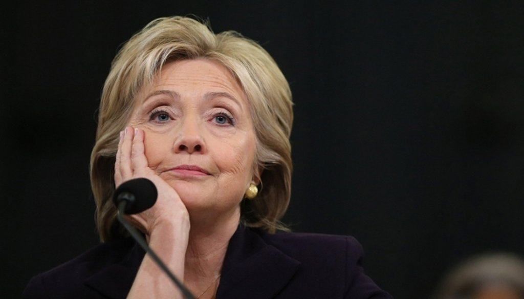 Former Secretary of State Hillary Clinton testifies before the House Select Committee on Benghazi on Oct. 22, 2015. (Chip Somodevilla/Getty Images)