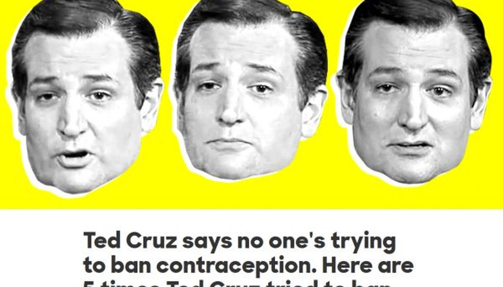 This is the top of a post from Hillary Clinton's campaign website, attacking Ted Cruz over reproductive health policy.