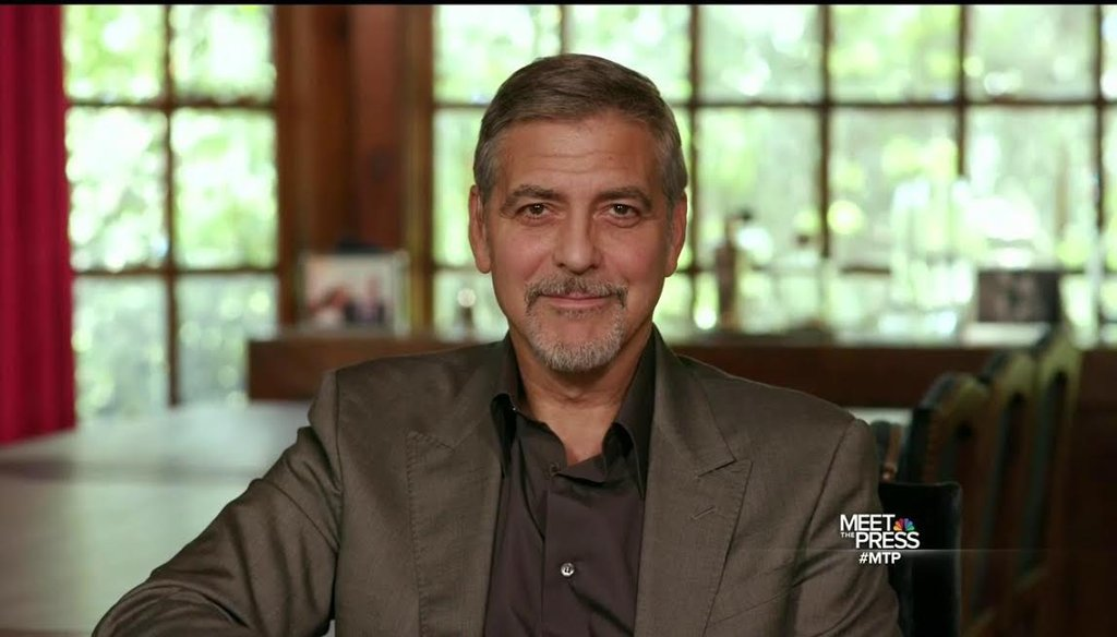 "Activist and actor George Clooney defends his big-ticket fundraiser for Hillary Clinton in an interview with Chuck Todd that aired April 17 on ""Meet the Press."" (NBC News)"