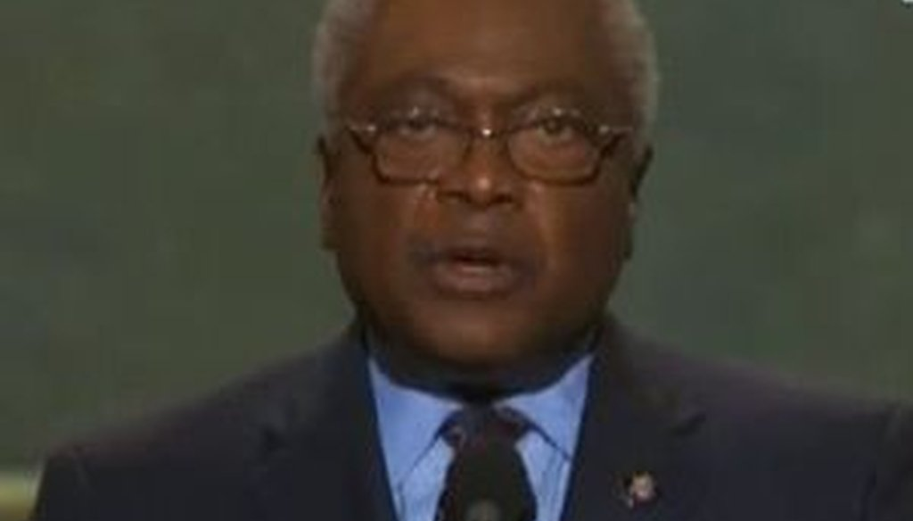 Rep. James Clyburn addresses the Democratic National Convention in Charlotte, N.C.