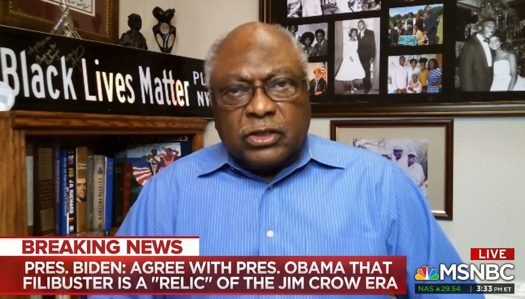 Rep. James Clyburn, D-S.C., appeared on MSNBC on March 25, 2021. (Screenshot)