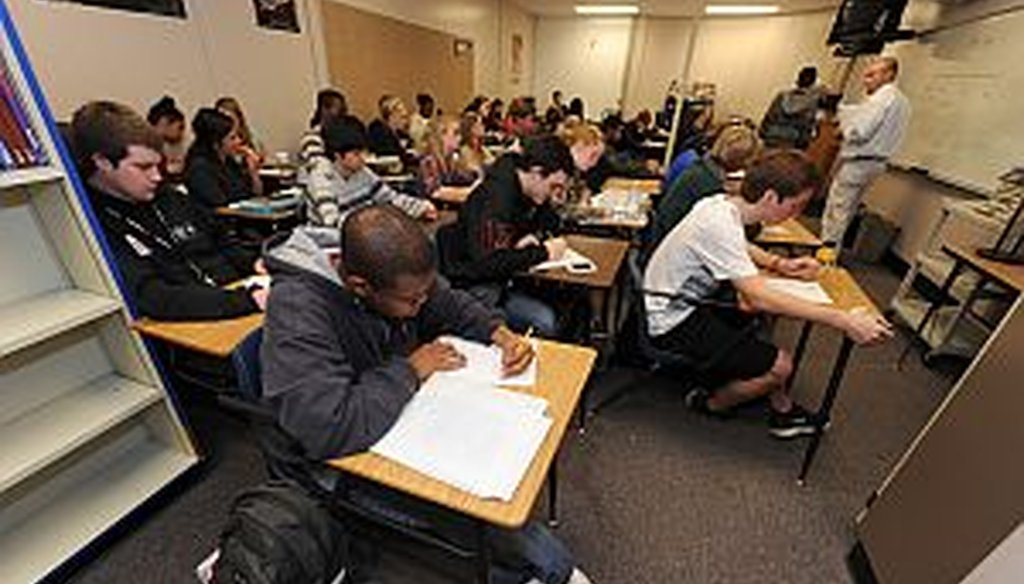 Cobb County Schools system will ask voters on Tuesday to extend its penny sales tax for another five years for several projects, including renovating facilities like Walton High School which has several overcrowded classrooms like this one.