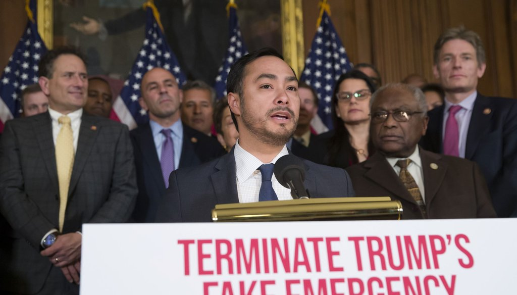 U.S. Rep. Joaquin Castro, D-San Antonio, speaks Monday on Capitol Hill. (AP/Alex Brandon)