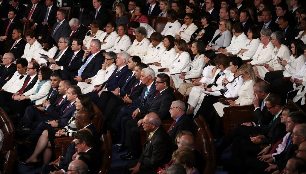 Democratic members of Congress wear white for U.S. President Donald Trump's address to a joint session of the U.S. Congress on February 28, 2017. (Getty)