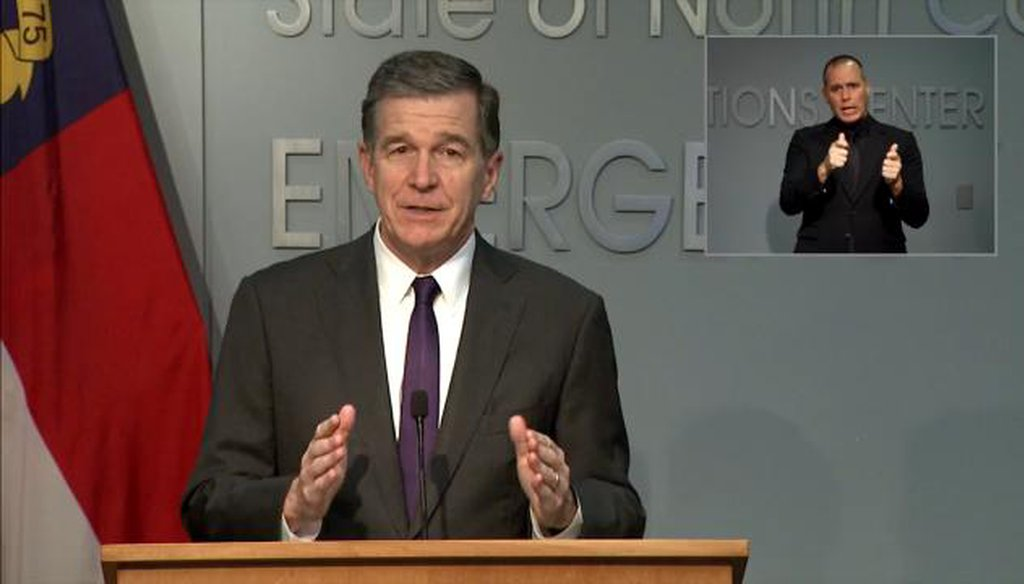 North Carolina Gov. Roy Cooper speaks during a press conference on Aug. 13, 2020.