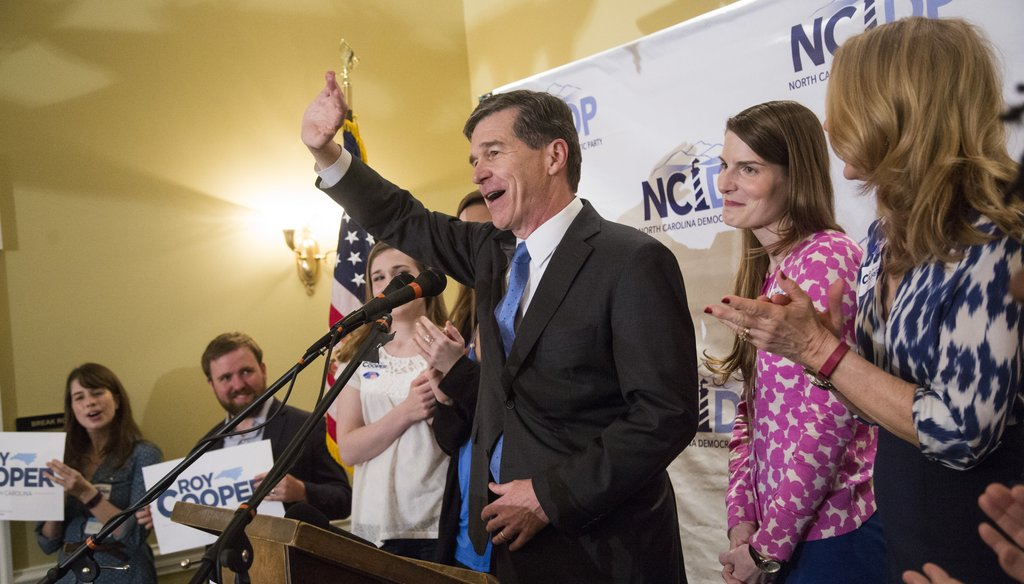 Roy Cooper thanks supporters March 15, 2016, after winning the Democratic nomination for governor