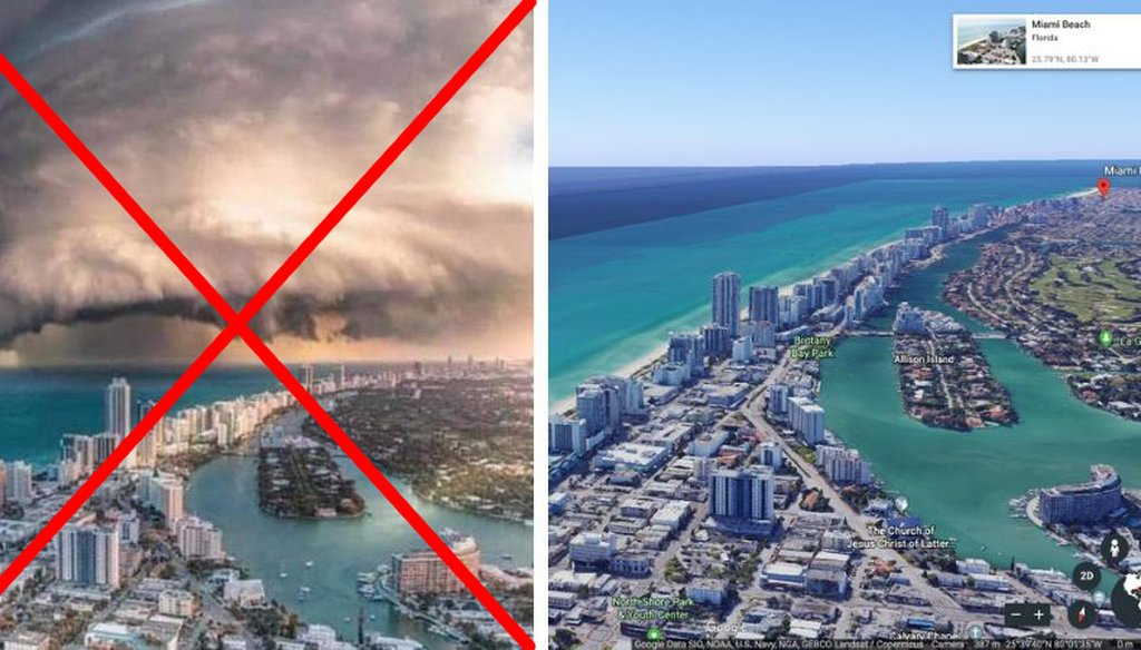 (Left, the original doctored image. Right, the view of North Miami Beach from Google Earth.)