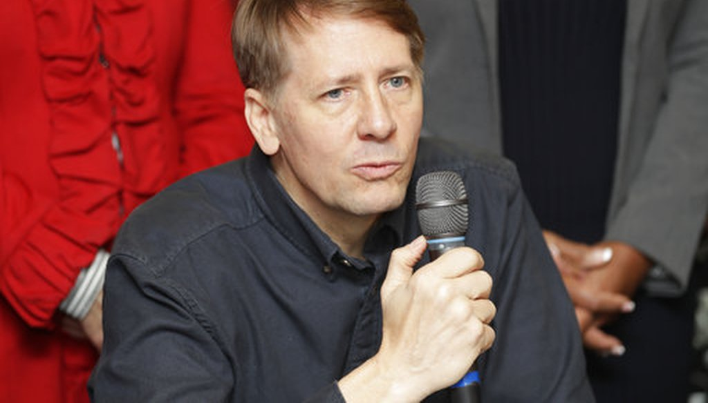 This Wednesday, Jan. 10, 2018 photo shows Richard Cordray speaking during a news conference, in Akron, Ohio. Cordray, a Democrat, is running for Ohio governor. (AP)