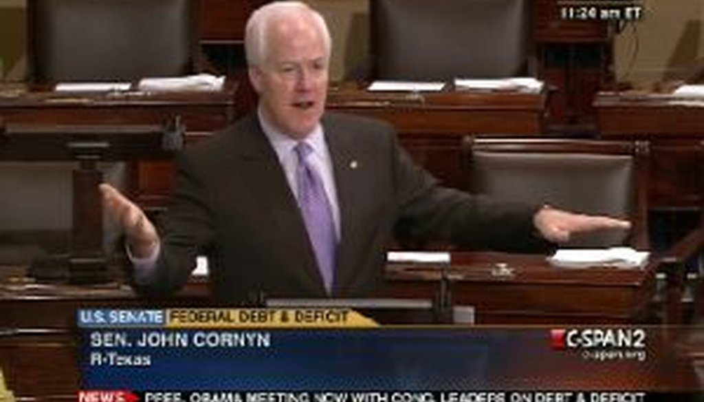 Sen. John Cornyn, R-Texas, took to the Senate floor on July 7, 2011, to discuss tax policy. We checked one of his facts.