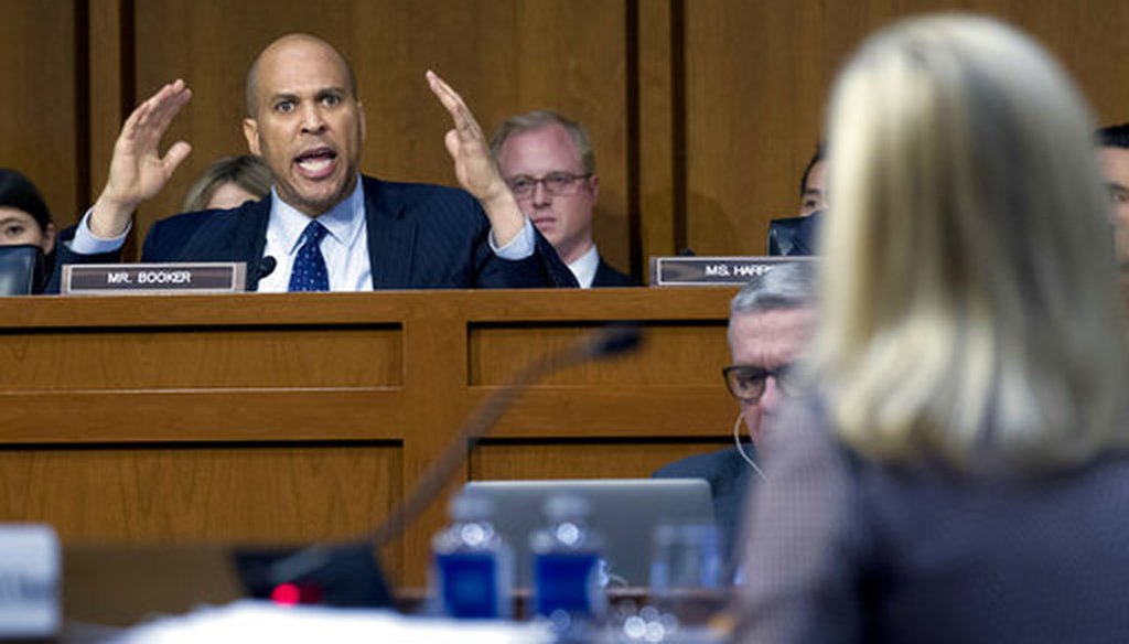 Sen. Cory Booker D-N.J., questions Homeland Security Secretary Kirstjen Nielsen during a hearing before the Senate Judiciary Committee on Capitol Hill, Tuesday, Jan. 16, 2018, in Washington. (AP)