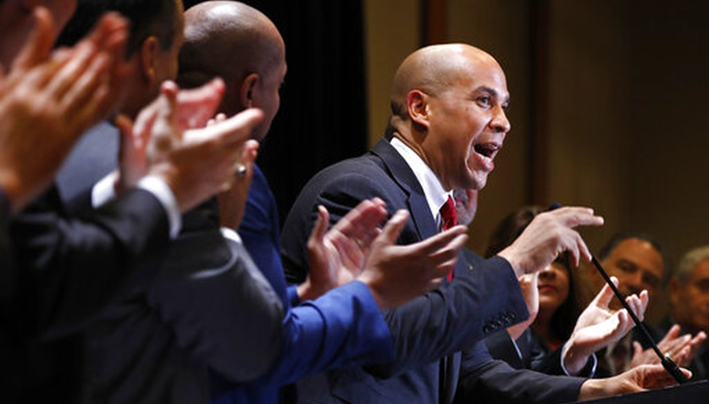 Democratic presidential candidate Sen. Cory Booker, D-N.J., is applauded as he speaks during the Machinists Union Legislative Conference, Tuesday May 7, 2019, in Washington. (AP)
