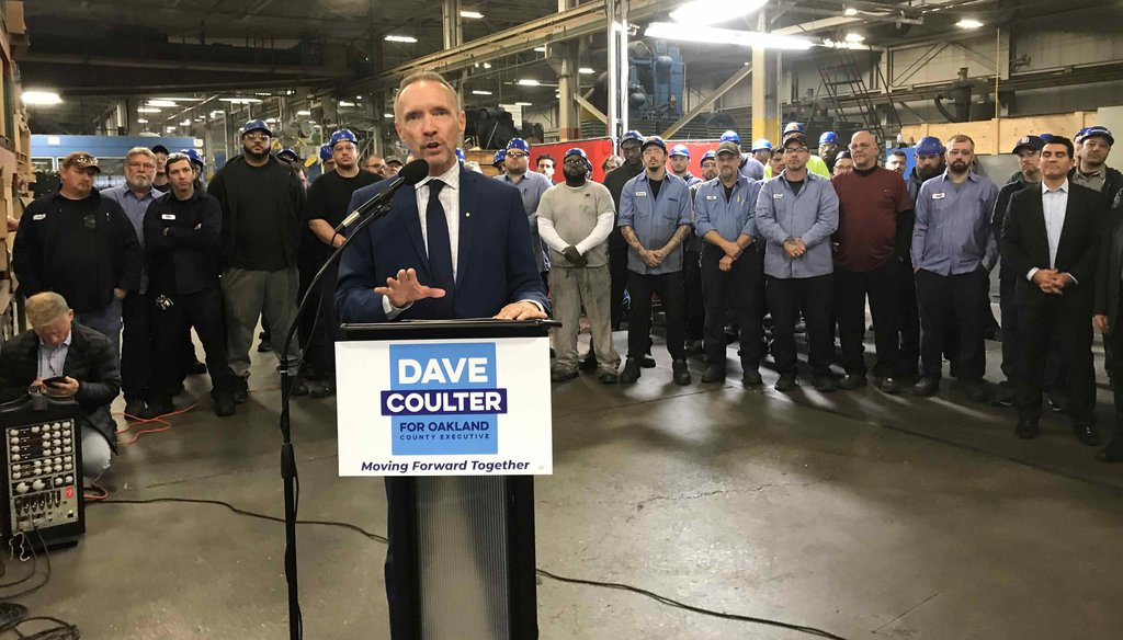 Dave Coulter declares his intention to run for Oakland County executive in 2020 at a Ferndale metal-working factory. (Bill Laitner/Detroit Free Press)