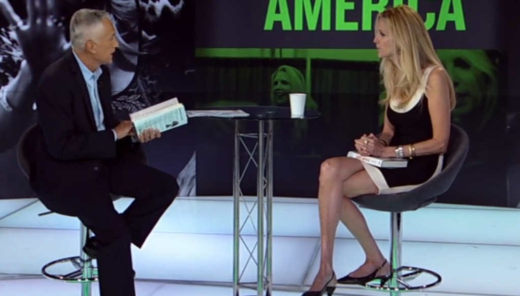 Conservative columnist Ann Coulter discusses her new book with television host Jorge Ramos.
