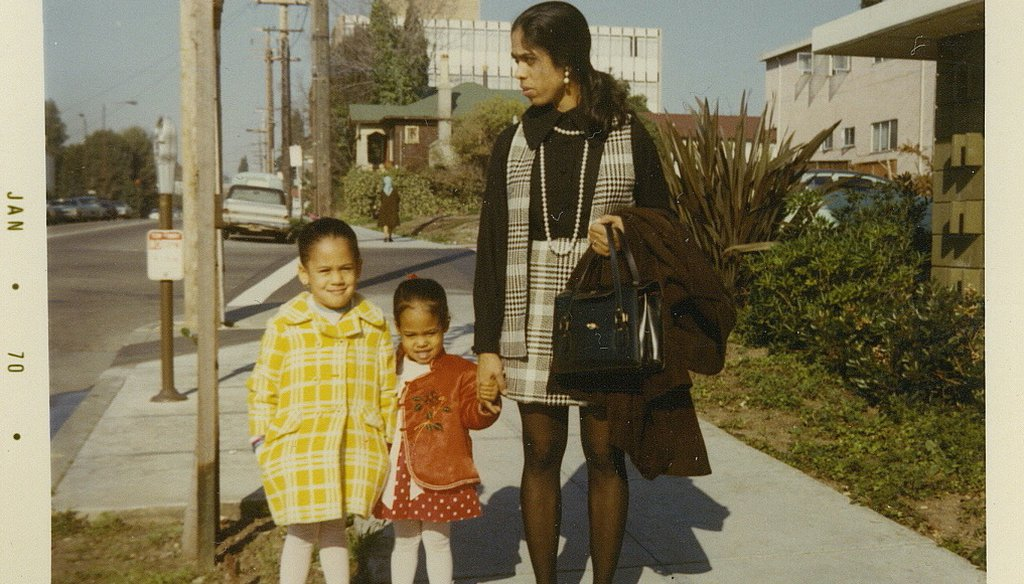 Kamala Harris, left, in 1970 with her sister, Maya Harris, and mother, Shyamala Gopalan. She was among the first classes to integrate Berkeley, Calif., elementary schools through a pioneering busing program that started in 1968. (Courtesy Kamala Harris)