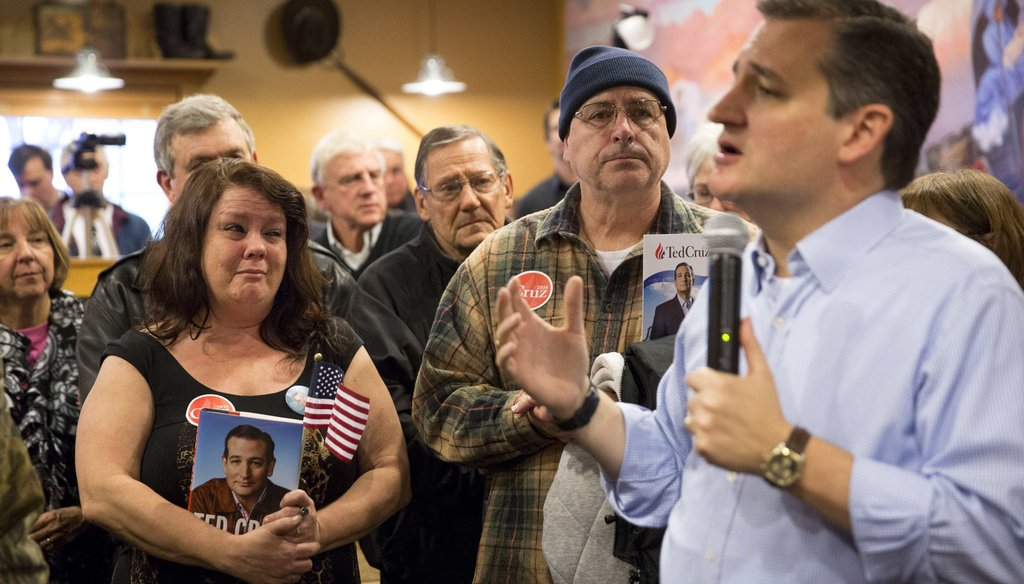 Republican presidential candidate Ted Cruz speaking during a campaign event in Newton, Iowa. (NYT)