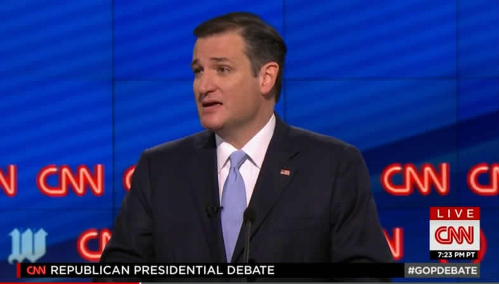 At the Republican debate in Miami, Ted Cruz said he has never supported the Trans-Pacific Partnership. (Screenshot)