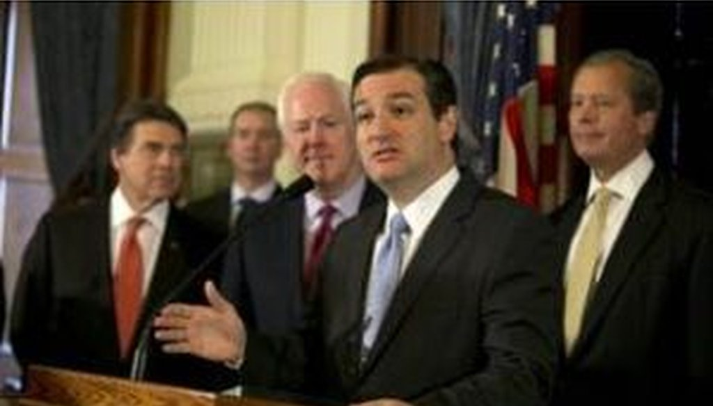 Sen. Ted Cruz, R-Texas, speaks in Austin on April 1, where he argued against expanding Medicaid. (Deborah Cannon, American-Statesman)