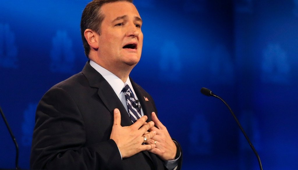 Republican presidential candidate Ted Cruz speaks during a debate at the University of Colorado in Boulder, Colo., on Oct. 28, 2015. (Jim Wilson/New York Times)