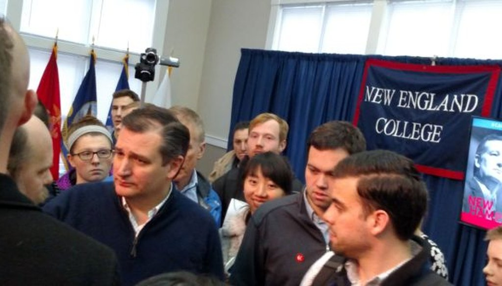 Ted Cruz greets voters at a town hall in Henniker, N.H. (Louis Jacobson)