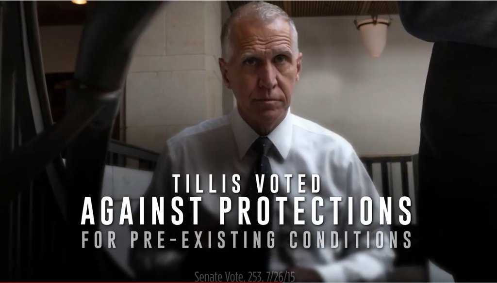Screengrab from Cal Cunningham ad against Sen. Thom Tillis