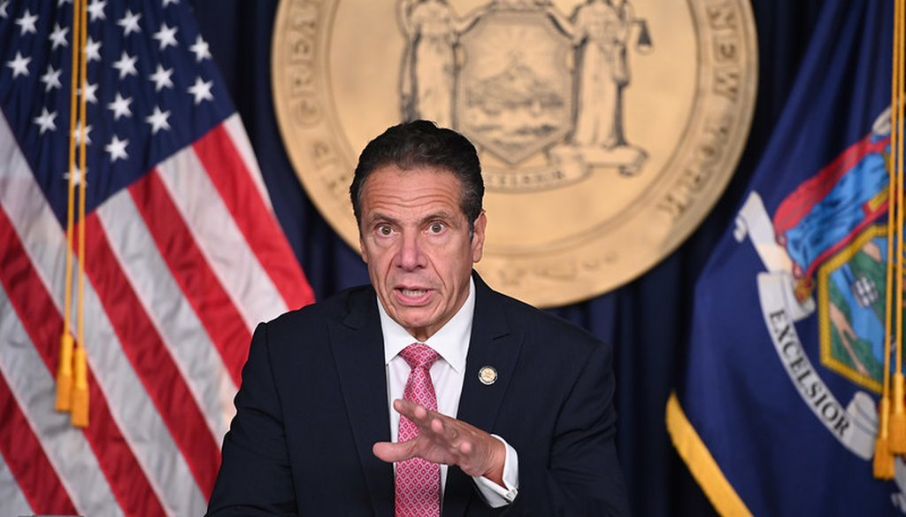 Gov. Andrew Cuomo holds a briefing in New York City on Sept. 29, 2020. (Courtesy Gov. Andrew Cuomo's press office.)