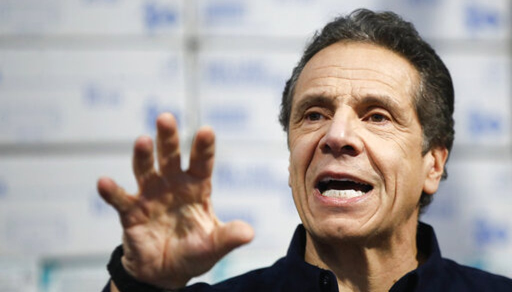 In this March 24, 2020 photo, New York Gov. Andrew Cuomo speaks during a news conference against a backdrop of medical supplies at the Jacob Javits Center that will house a temporary hospital in response to the COVID-19 outbreak in New York. (AP)