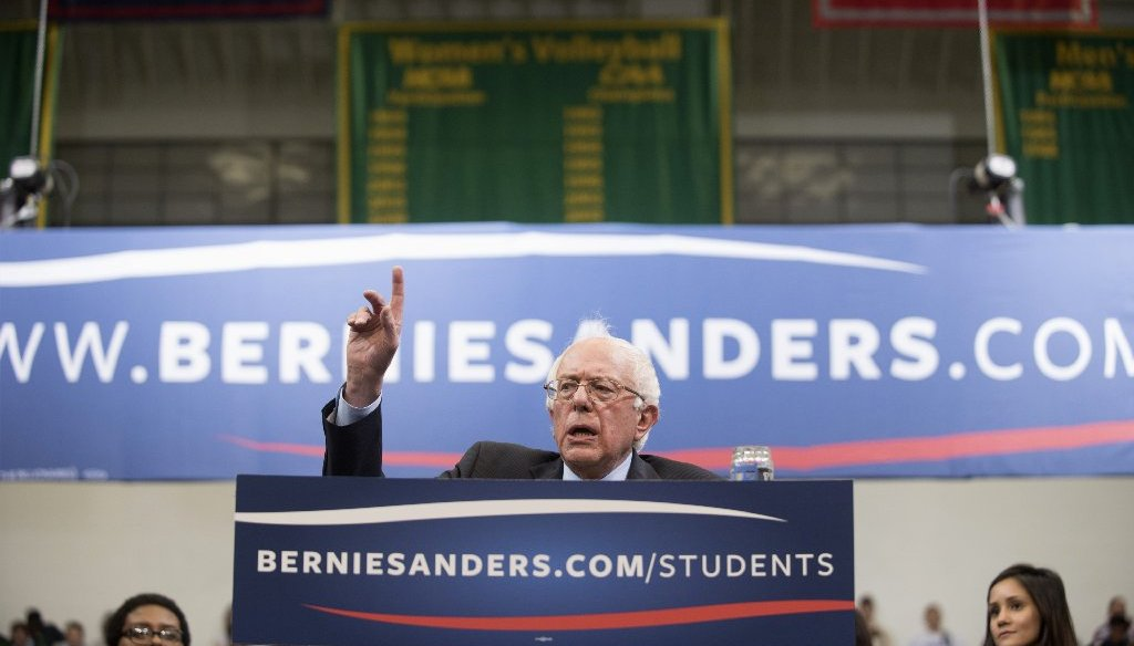 "Bernie Sanders says it's a ""simple truth"" that it costs a lot more to send someone to prison rather than to U.Va. But the truth isn't that simple. (AP Photo)"