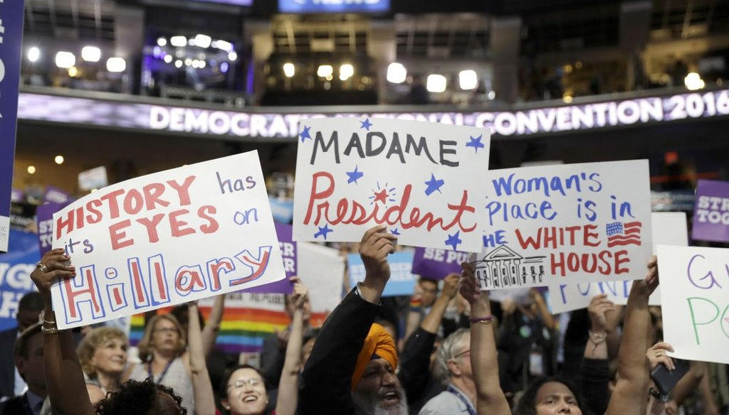 California delegates hold up signs as they cheer during the third day session of the Democratic National Convention in Philadelphia, PA. (AP)