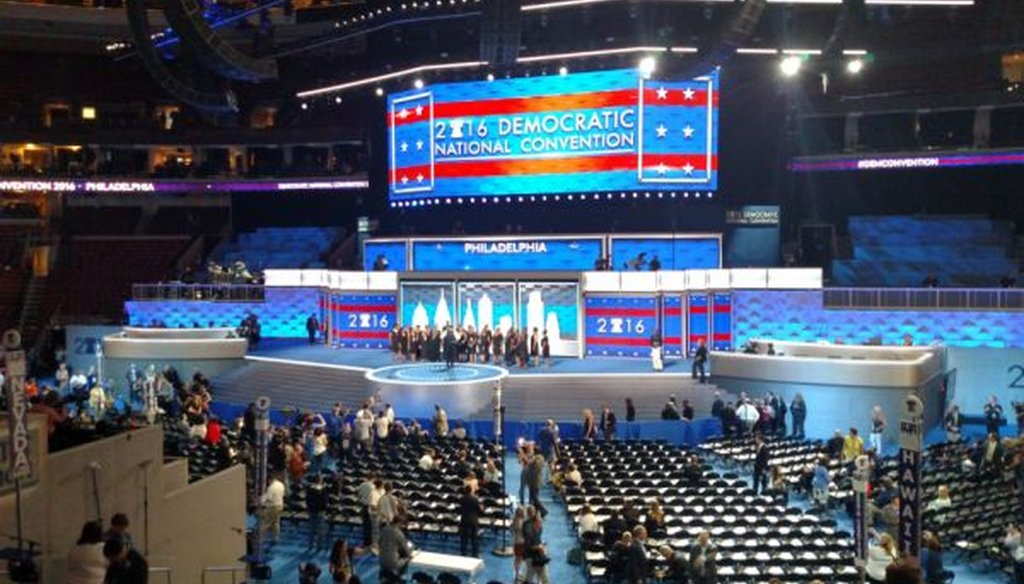 Overview of the floor at the Democratic National Convention in Philadelphia. (Louis Jacobson)