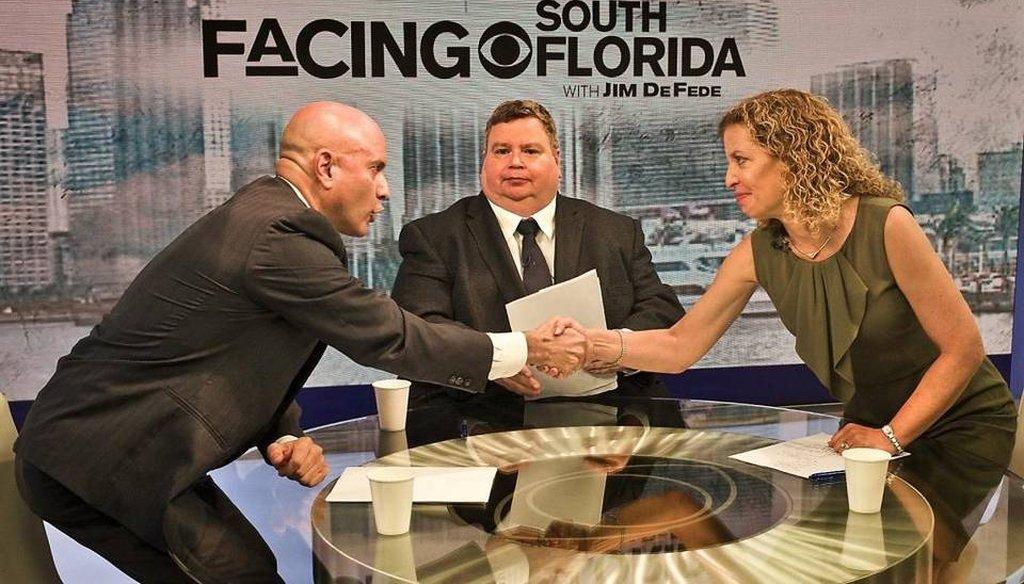 U.S. Rep. Debbie Wasserman Schultz debated Democratic rival Tim Canova on CBS4 in Miami Aug. 14, 2016. (Patrick Farrell/Miami Herald)