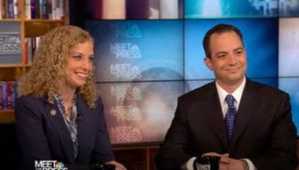 "On the June 12, 2011, edition of NBC's ""Meet the Press,"" the two party chairs -- Debbie Wasserman Schultz of the DNC and Reince Priebus of the RNC -- met face to face. We checked some of their claims."
