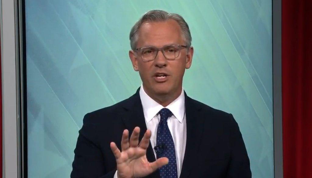 North Carolina Lt. Gov. Dan Forest speaks during a debate with Gov. Roy Cooper on Oct. 14, 2020.