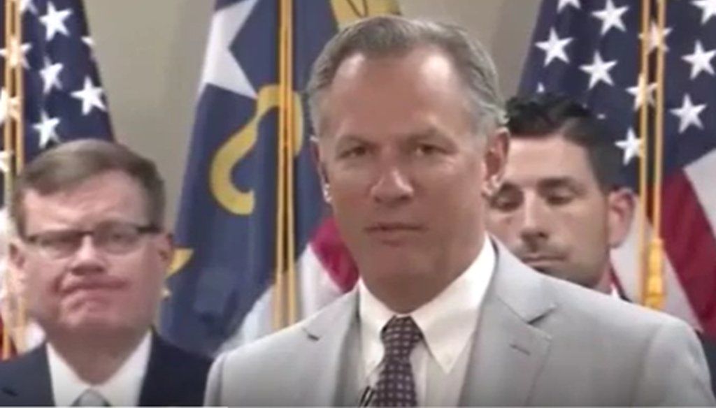Lt. Gov. Dan Forest speaks at a press conference in Raleigh, NC on Nov. 25, 2019. (screengrab from YouTube)