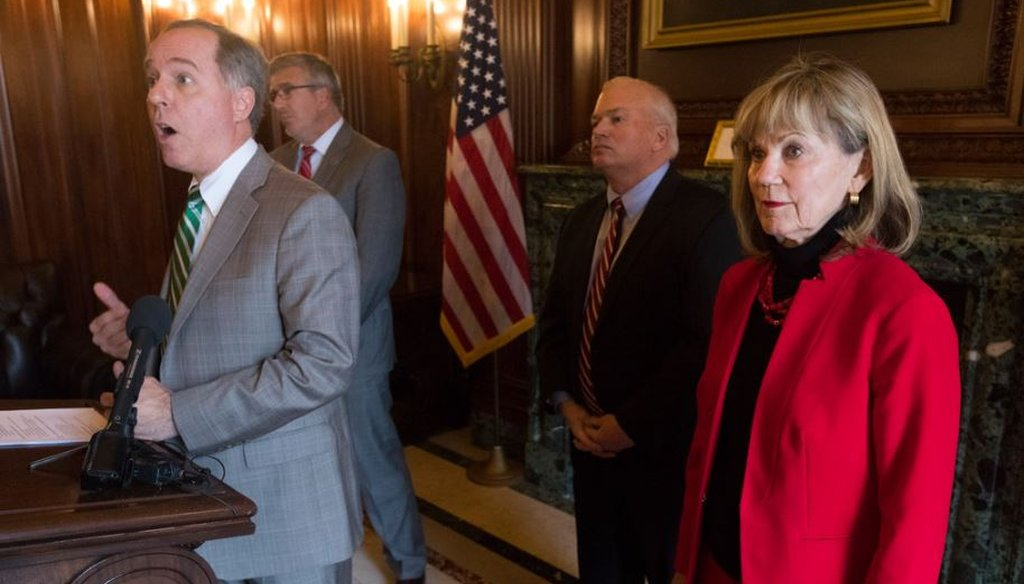 State Sen. Alberta Darling, right, looks on at a December 2018 news conference, joined by other Republican legislative leaders.  (Photo by Mark Hoffman/Milwaukee Journal Sentinel)