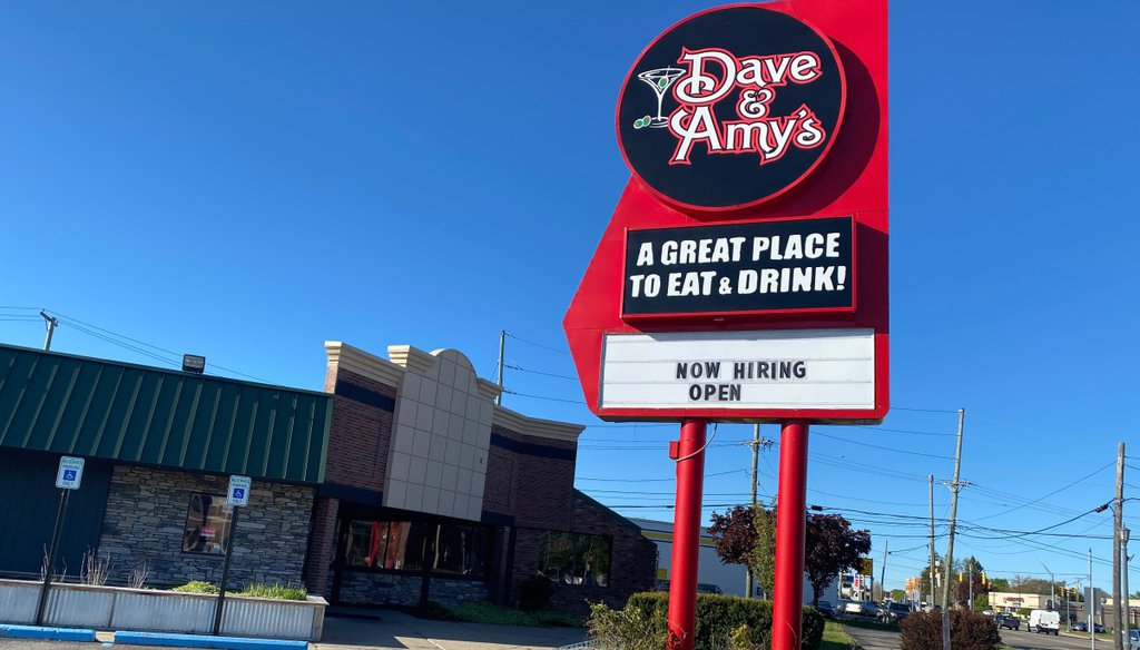 Dave and Amy's, a restaurant in Walled Lake, Mich., is part of the surge in hospitality industry job openings. (PolitiFact/Krishnan Anantharaman)