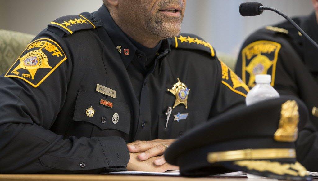 Milwaukee County Sheriff David A. Clarke Jr. spoke to the County Board's Finance Committee on Oct. 14, 2014. (Mark Hoffman photo)