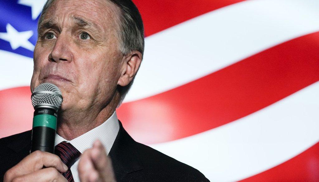 U.S. Sen. David Perdue, R-Ga., speaks during a campaign rally on Nov. 13, 2020, in Cumming, Ga. (AP)