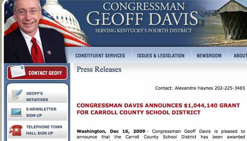 Rep. Geoff Davis voted against the stimulus . . . but then boasted about a $1 million grant it provided for a local school system.