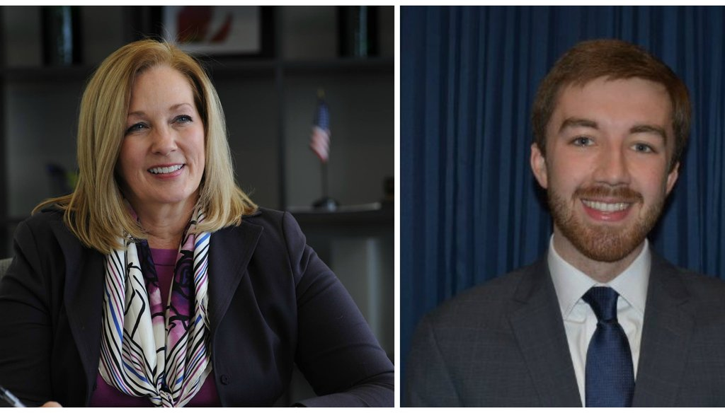 Representative Kate Cloonen (left) and Illinois Republican Party Downstate Press Secretary Aaron DeGroot (right)