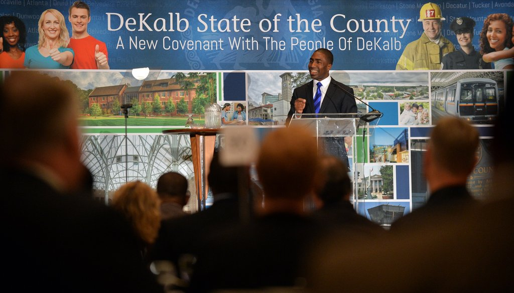 DeKalb County Interim CEO Lee May delivers the State of the County address to business leaders in January at the Thalia N. Carlos Hellenic Center.
