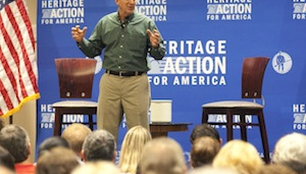 "Jim DeMint speaks at the ""Defund Obamacare"" town hall tour in Tampa on Aug. 21, 2013. ( Eve Edelheit, Times staff)"