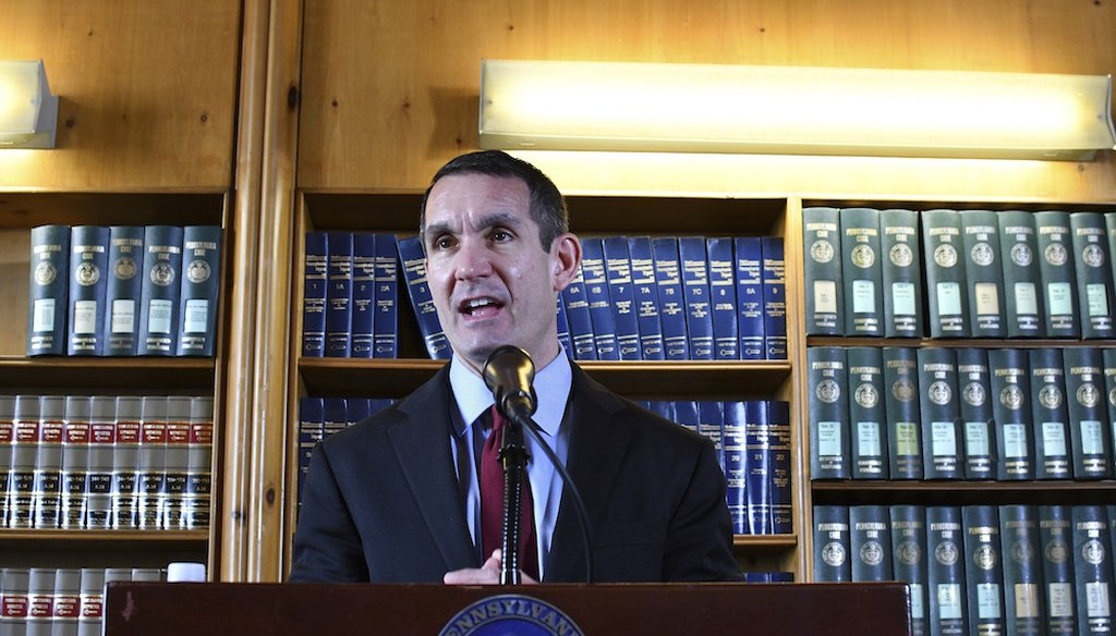 Pennsylvania Auditor General Eugene DePasquale speaks at a news conference in Harrisburg, Pa. (AP Photo/Marc Levy)