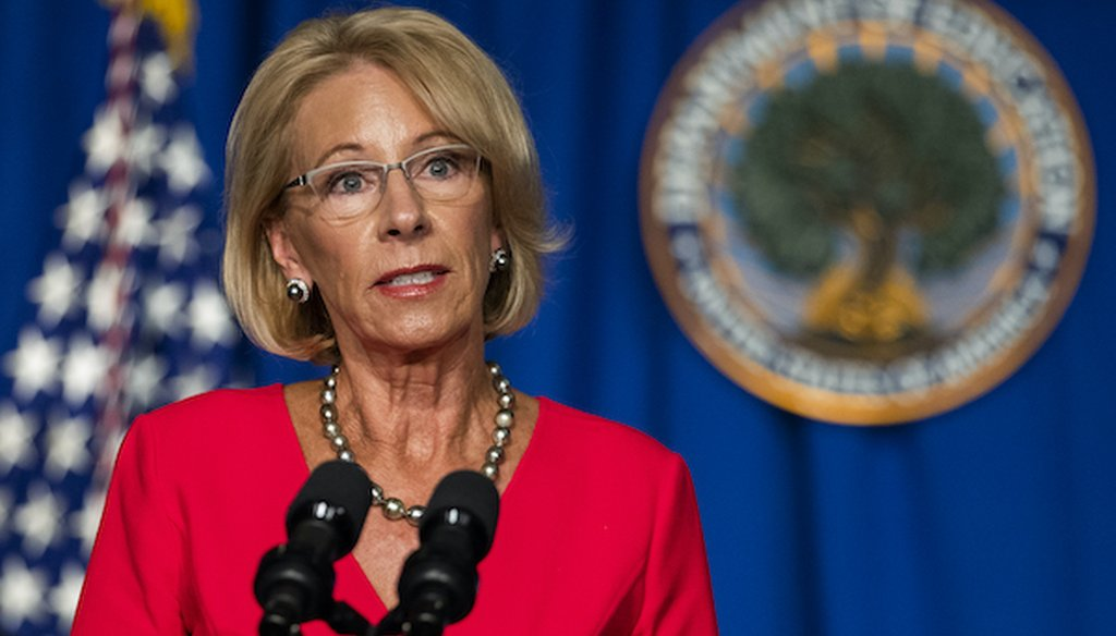 Education Secretary Betsy DeVos speaks during a briefing at the Department of Education building in Washington on July 8, 2020. (AP)