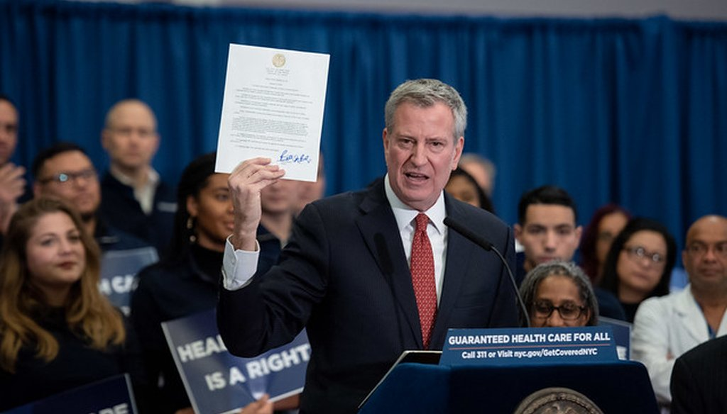 Mayor Bill de Blasio makes an announcement about increasing access to health insurance at NYC Health + Hospitals/Kings County Hospital in Brooklyn on January 22, 2019. (Credit: Michael Appleton/Mayoral Photography Office)