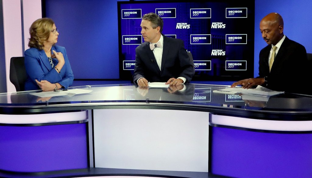 Raleigh Mayor Nancy McFarlane speaks during a televised debate on Oct. 20.