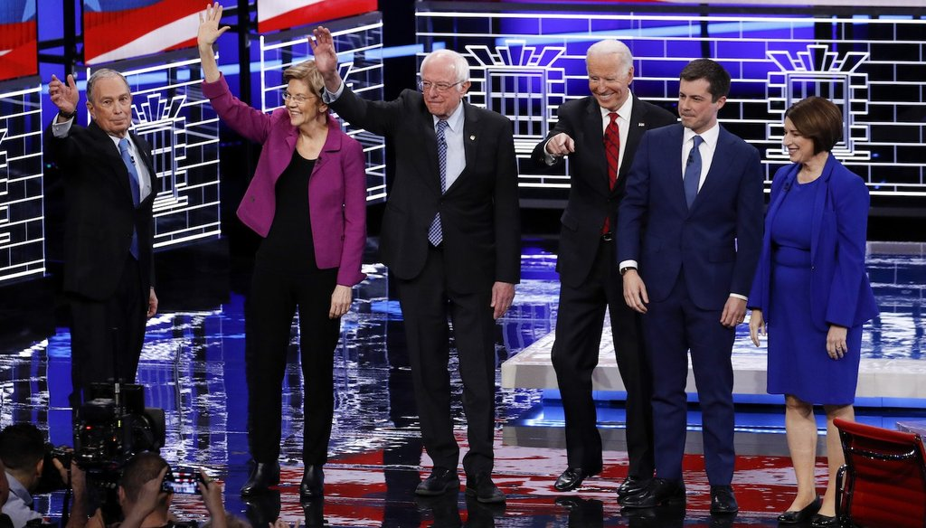 From left, Democratic presidential candidates Michael Bloomberg, Elizabeth Warren, Bernie Sanders, Joe Biden, Pete Buttigieg and Amy Klobuchar at the Feb. 19 Democratic debate in Las Vegas. (AP)