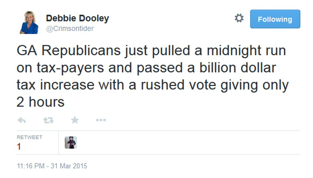Atlanta Tea Party Patriots co-founder Debbie Dooley's Tweet about the recently passed transportation funding bill