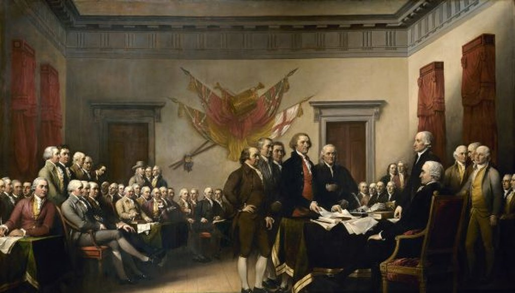 John Trumbull's 1819 painting of the drafting of the Declaration of Independence depicts the five-man drafting committee presenting their work to the Congress. The original hangs in the U.S. Capitol rotunda.